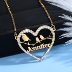 Custom Made Crystal Inlaid Outlined Heart One Name Necklace Crafted High Quality Name Necklace Women's Jewelry Personalized Simple Jewelry For Casual Outfits