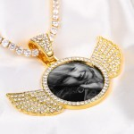 Personalized custom photo necklace with angel wings