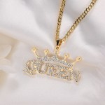 Queen crown personalized custom name customized name necklace bespoke jewelry design