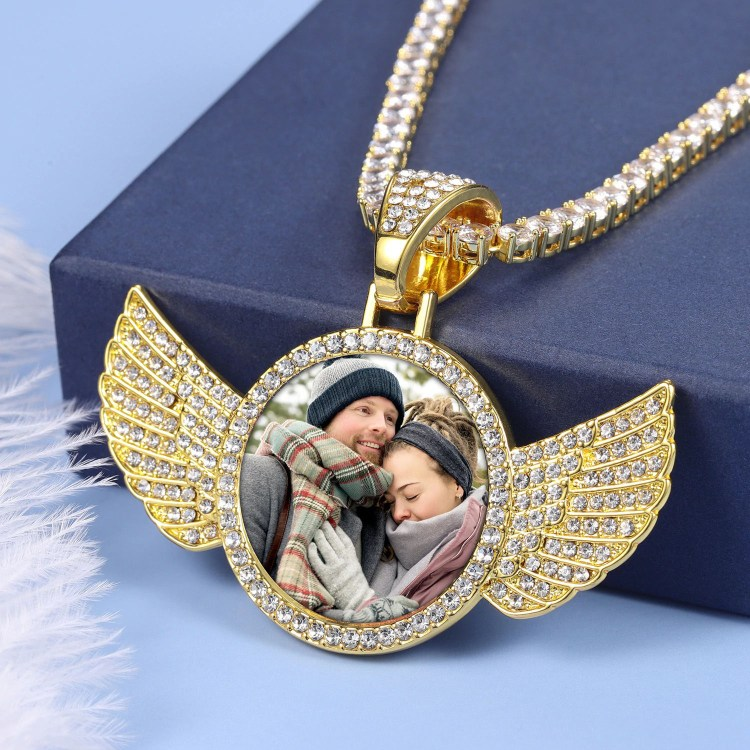 angel wings iced out memory photo necklace