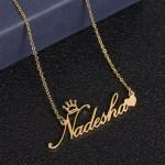 crown heart cursive name necklace for women sister best friend