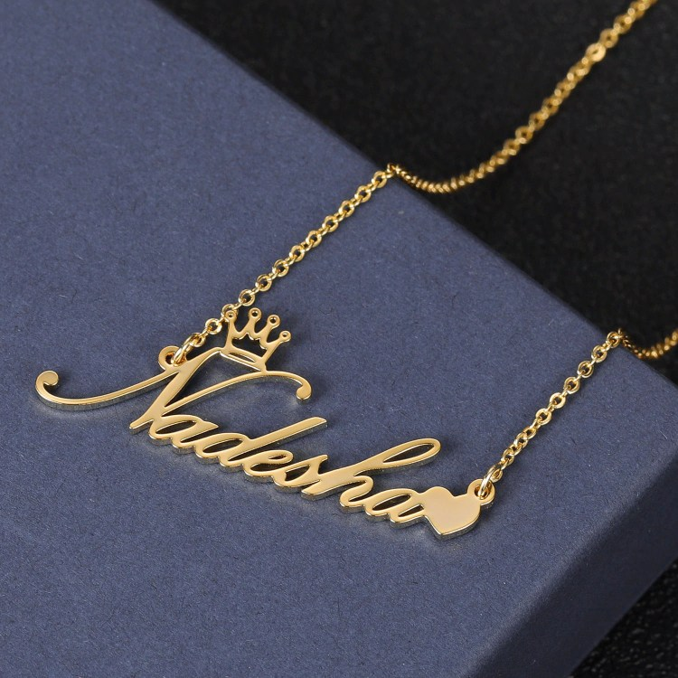 crown symbol love heart name necklace in gold color
