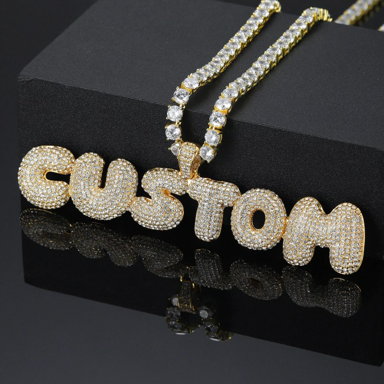custom personalised bubble letter iced out bling hip hop rap name necklace