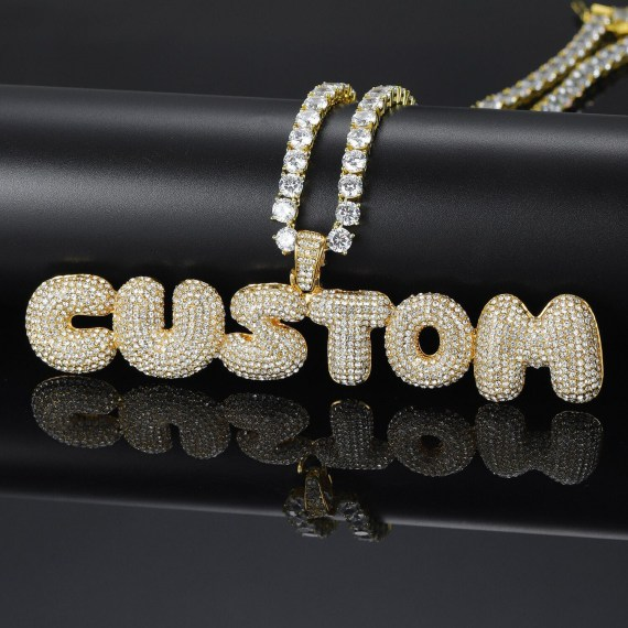 customized bubble letter nameplate pendant charm necklace shine fully iced out tennis chain