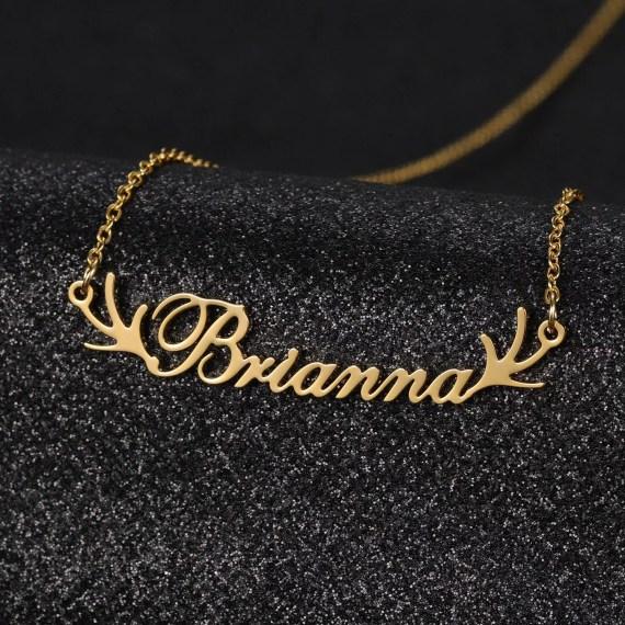 deer antler Brianna name necklace for nature wildlife deer lovers