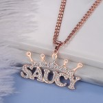 hip hop style personalized custom name necklace for women with the name saucy in rose gold color
