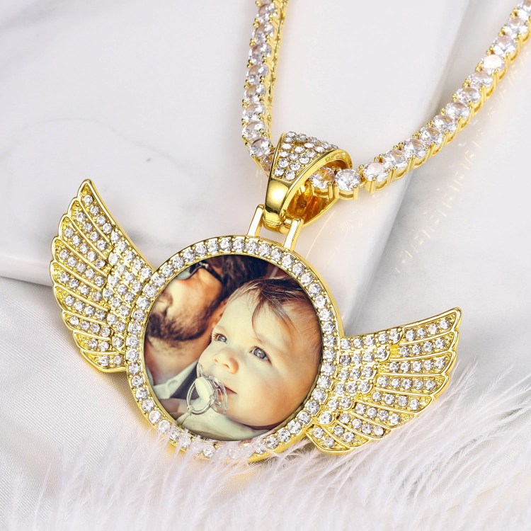 personalized custom photo bespoke angel wings iced out bling customized necklace chain for unisex men women