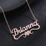 personalized frosted customized nameplate heart name necklace for wife girlfriend