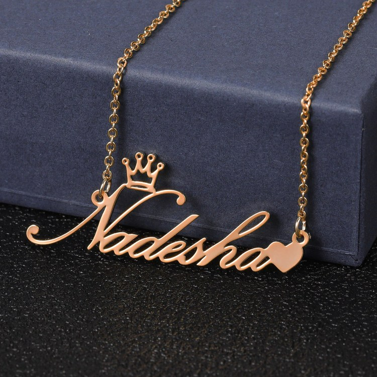 rose gold color personalized heart crown name necklace for women wife