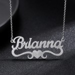 silver color best personalised custom nameplate heart name necklace for women