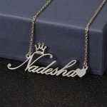 silver color personalized crown name necklace with a heart symbol