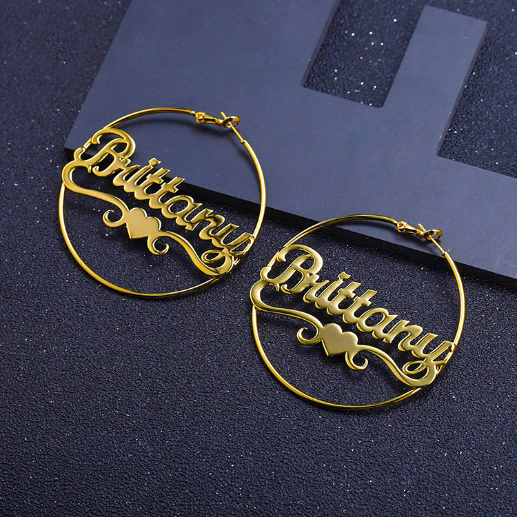 Stainless-steel-name-necklace-personalized-gift-women-female-heart-hoop-earrings