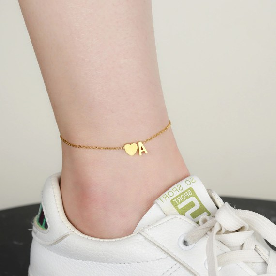 Initial letter heart design anklet for women gift ideas
