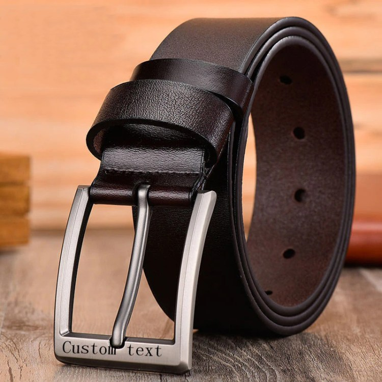 leather engraved name personalized brown belt buckle