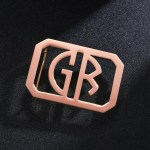 rose gold custom belt buckle GB monogram 2 initials letters design for men on fathers day