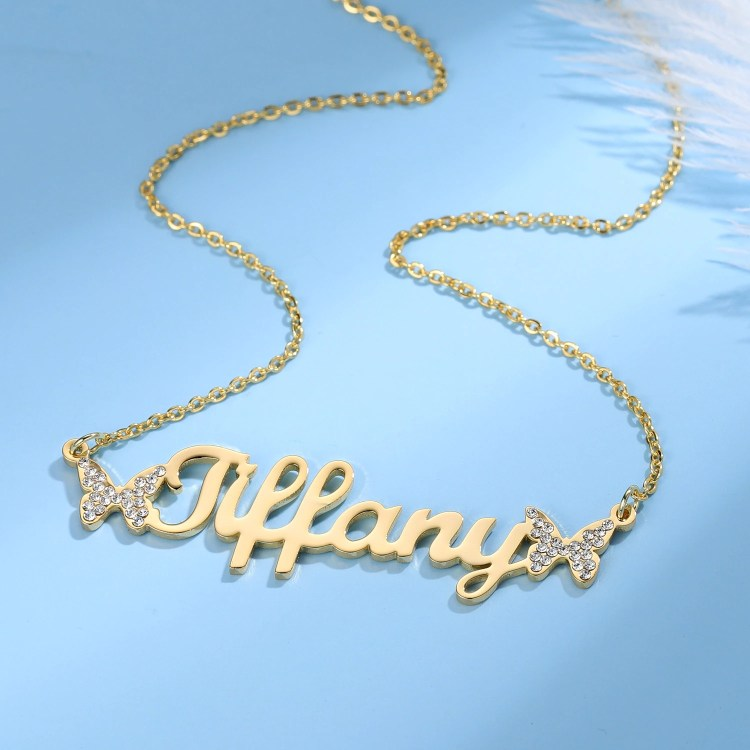 2 butterflies cute name necklace for women daughter sister wife mother