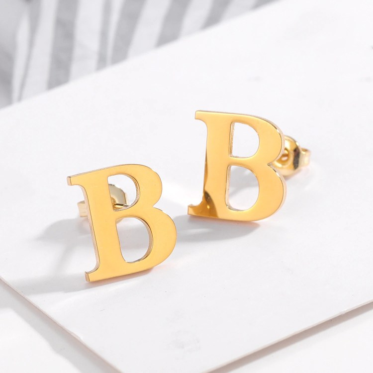 Custom English Initial Earring Personalized Custom Made Jewelry For Women High Quality Beceff Jewelry Gift To Daughter