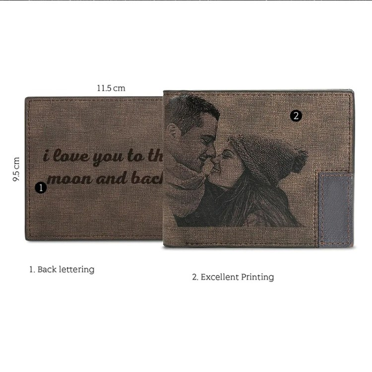 couple picture anniversary gift wallet for husband boy friend fiance photo and text engraved
