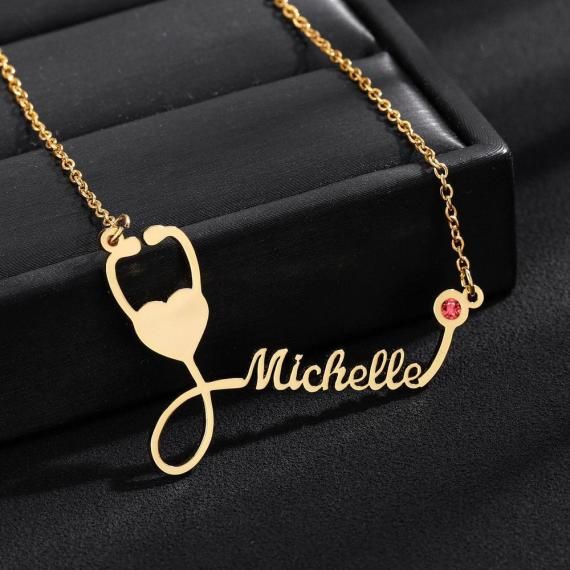 Birthstone Stethoscope Name Necklace Design for Medical Students Graduation Gifts