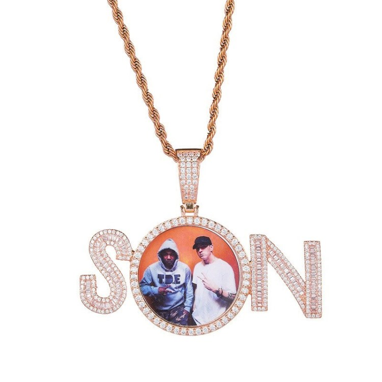 High Quality Rose Gold Color Plated Custom Photo Locket Name Necklace Beceff SON Nameplate Photo Frame Charm