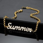 18cm Custom Name Gold Color Plated Stainless Steel Name Bracelet For Teenage Girl Sparkling Custom Name Bracelet For Women