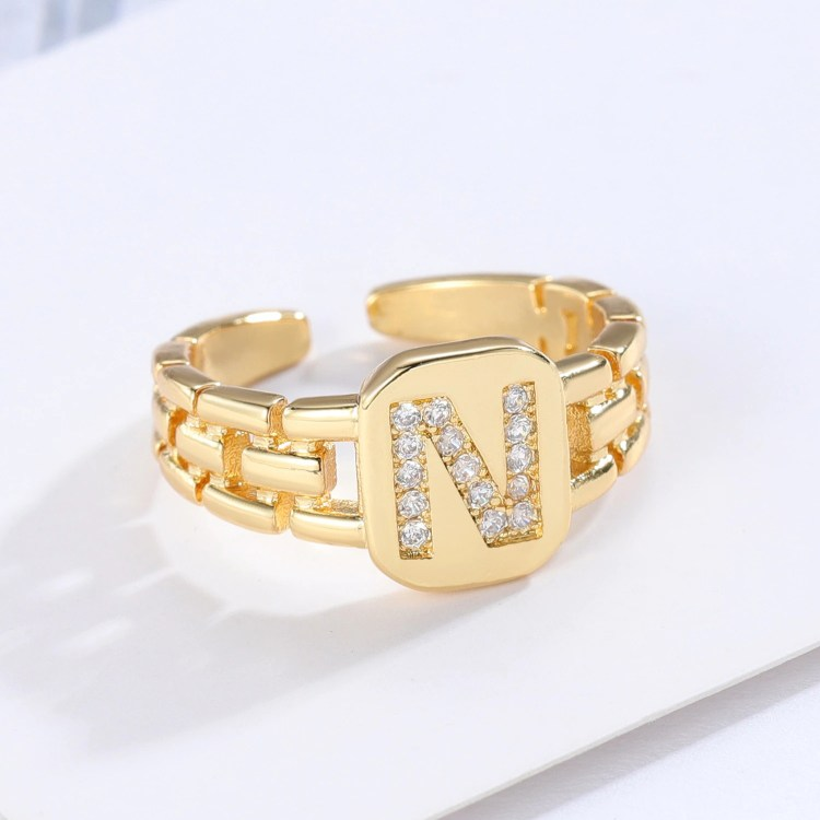 Adjustable Hip Hop Single Letter Ring Bling Jewelry For Party Dresses High Quality Sparkling English Letter Ring For Young Looking Women