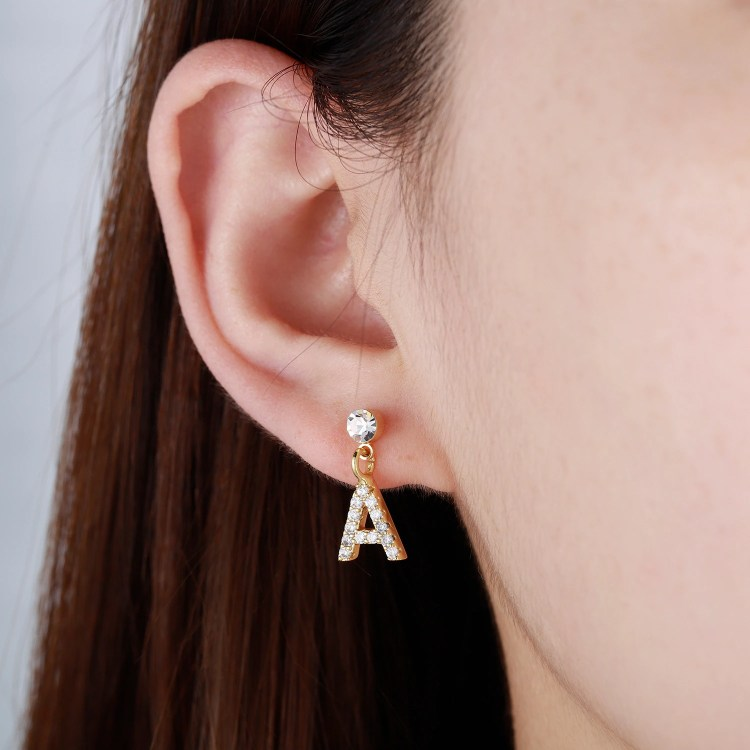 Crystal Letter Stud Earring Custom Made Single English Letter Bespoke Initial Earring Back Drop Personalized Earring For Women Teens And Girls