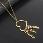 Custom Dangle 3 Names Necklace Hollow Heart Pendant Chain Women's Jewelry For Casual Wear