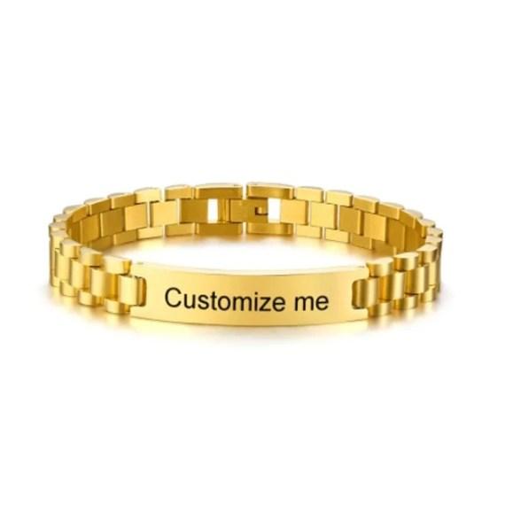 Custom Made Name Engraved Bracelet For Masculine Men Wrist Jewelry For Men High Quality Personalized Jewelry With My Name Casual Jewelry For Men