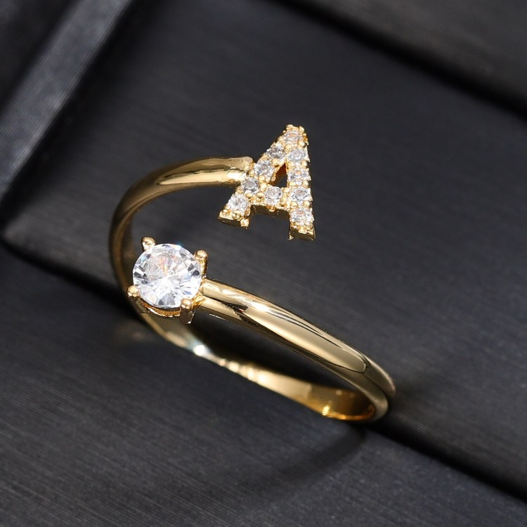 English Alphabet Custom Initial Ring For Women Crystal Name Ring For Ladies