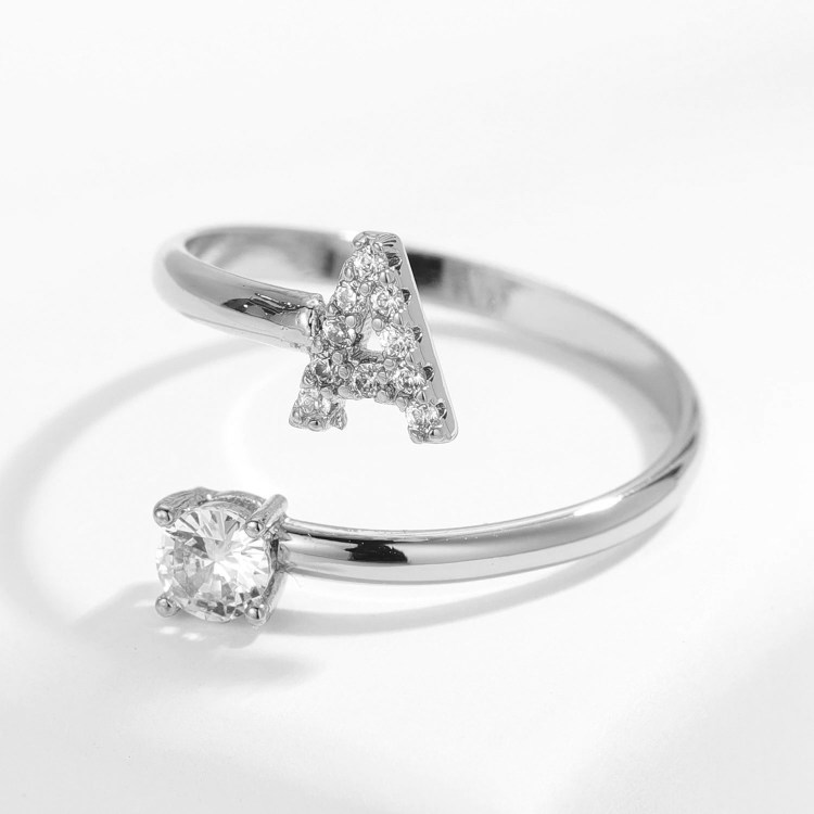 English Custom Letter Ring For Ladies Silver Initial Ring