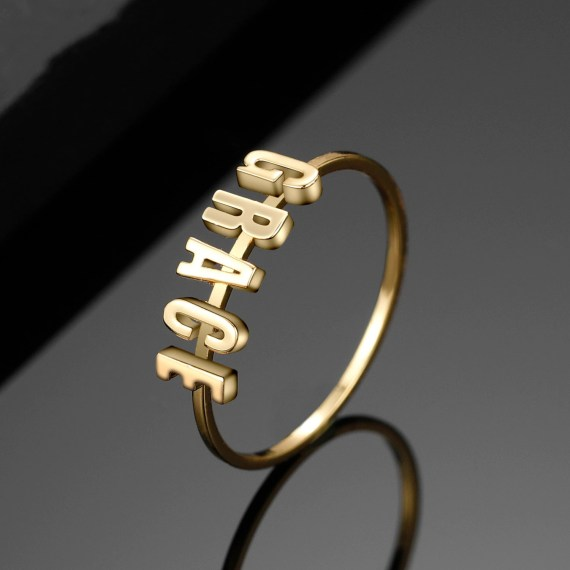 Gold Plated High Quality Personalized Custom Name Ring Separate English Initials Ring For Ladies