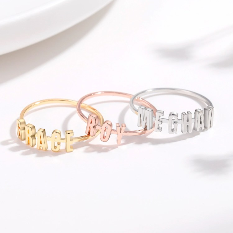Gold Silver Rose Gold Custom High Quality Name Ring For Casual And Regular Day Outfits