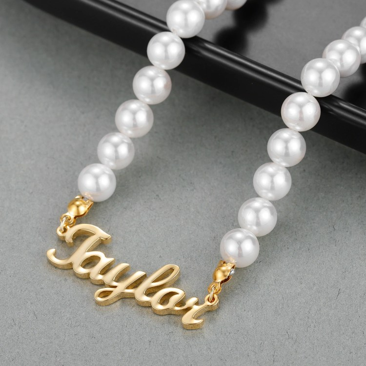 Pearl Chain Custom Name Necklace Best Quality Name Necklace For My Casual Outfits My Favorite Name Necklace High Quality Jewelry For Ladies