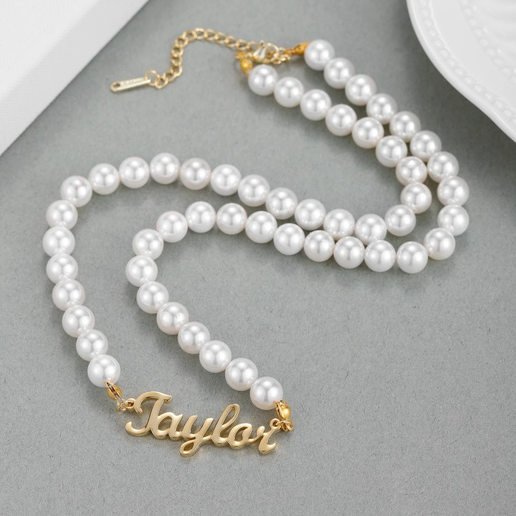 Personalized Custom Name Necklace With Pearl Chain Jewelry For The Masquerade Party Night Jewelry For Prom Night Royal Looking Jewelry