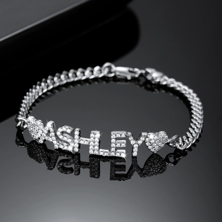 Premium Quality Silver Plated Custom Name Bracelet For Women Stainless Steel Personalized Jewelry For Women Jewelry For Ladies Bling Name Wrist Wear Jewelry