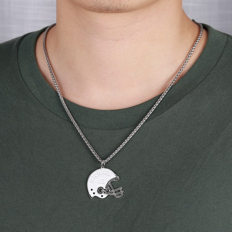 Silver Color Plated Premium Quality Stainless Steel Custom Name Necklace For American Football Players Jewelry For Men