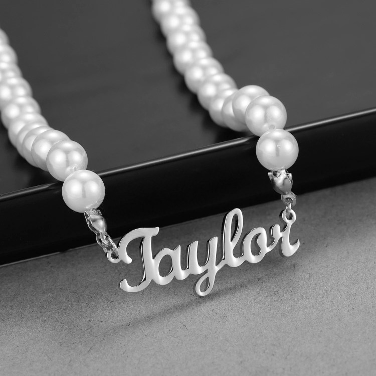 Silver Custom Name Necklace Premium Quality Custom Name Necklace Pearl Chain Name Necklace Regular Use Name Necklace For Ladies Jewelry For Grown Ups