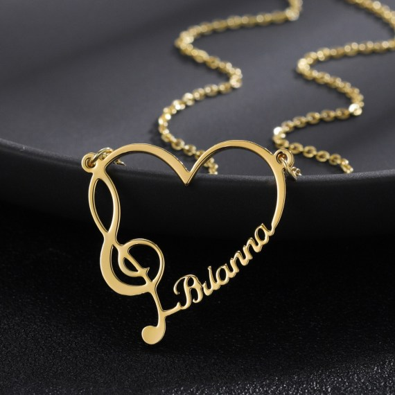 Gold Color Plated Premium Quality Custom Name Necklace With Music Note Cursive Font Name Necklace With My Name Single Name Decent Looking Personalized Jewelry For Women