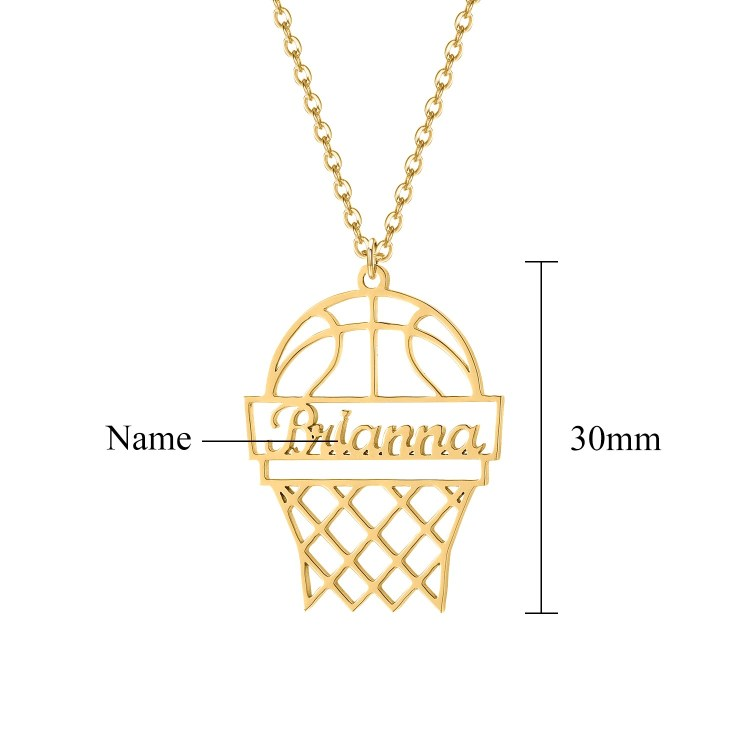 Personalized Basketball Name Necklace Premium Quality Custom Name Necklace With My Name Basketball Hoop With A Player Name For Basketball Sports Fans And Community