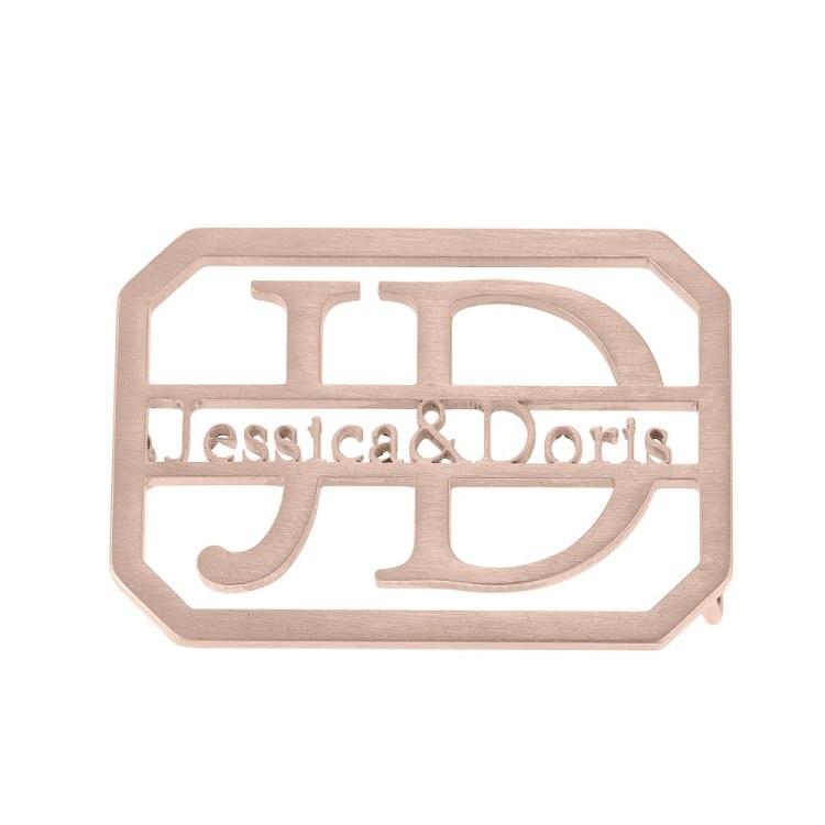 Premium Quality Rose Gold Color Plated Custom Name And Initials English Made To Order Waist Belt Buckle Designs For Men And Women High Quality Belts For Personalized Use