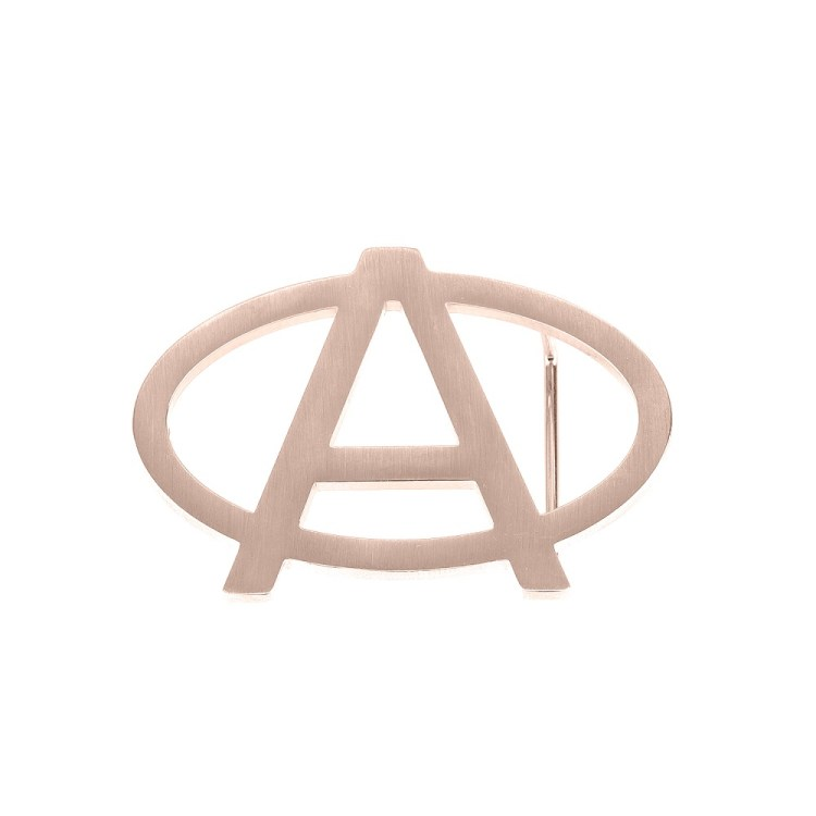 Rose Gold Color Plated High End Personalized Oval Shaped Single Letter Belt Buckle Beceff Waist Belt Buckle Design For Men Custom English Initial Belts For Men's Outfits