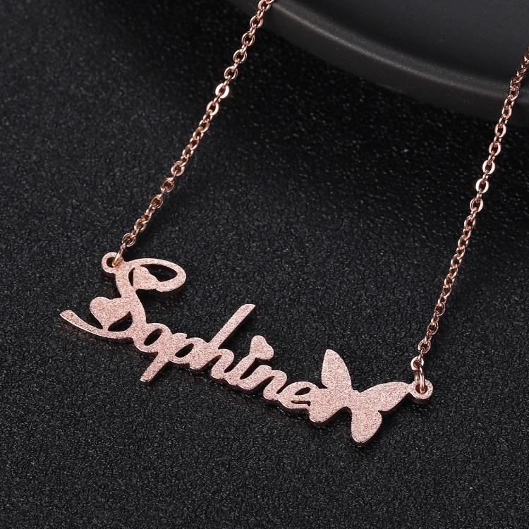 Rose Gold Plated High Quality Custom Name Necklace Premium Quality Name Necklace For Girls Beceff Jewelry For Daily Use Frosted Custom Name Necklace With Cute Butterfly