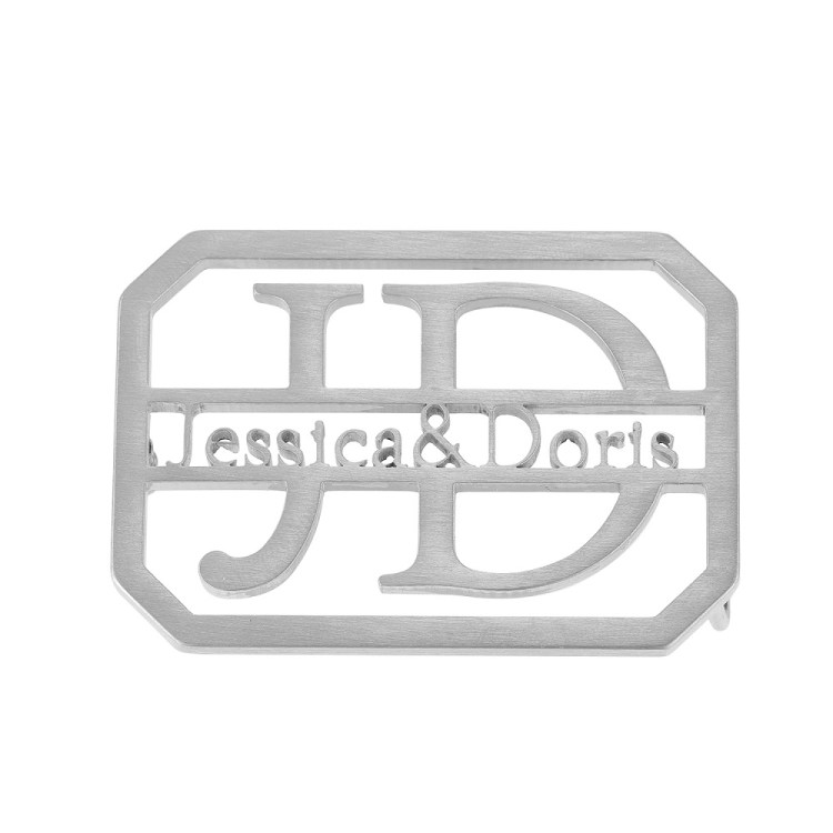 Silver Color Plated Custom Dual English Letters Waist Belt Buckle Design For Men And Women High Quality Personalized Custom Accessory Pieces For Casual Outfits