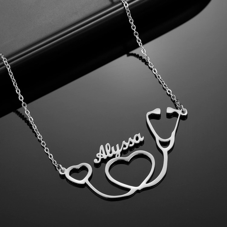 Silver Color Plated Custom Name Necklace For Personalized Use Beceff Best Quality Name Necklace Jewelry For Medial Staff Member Medical Student Health Care Worker