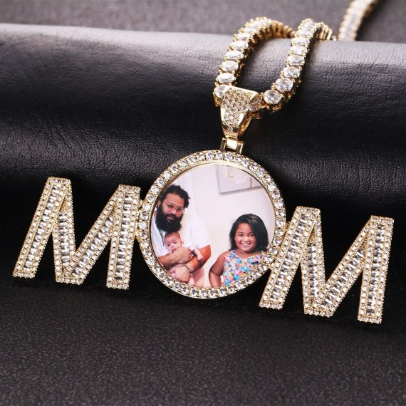 3mm Cuban Chain Rope Chain Tennis Chain Custom Photo Necklace Personalized Photo Frame Necklace With Mom Pendant High Quality Charm For Casual Jewelry Stainless Steel Name Necklace