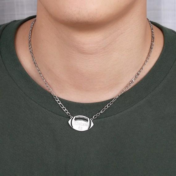 American Football Custom Name Necklace Printed Name Necklace Personalized Name Necklace For Sports Lovers High Quality Custom Name Necklace For Energetic Sport Lovers