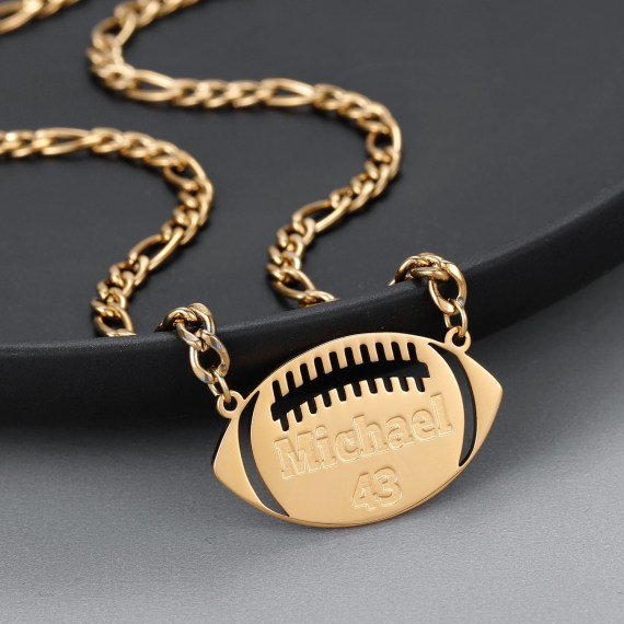 American Football Name Necklace American Sports Ball Name Necklace Sport Outfit Jewelry Name Necklace For Teenage Boys And American Football Fans Beceff Personalized Jewelry