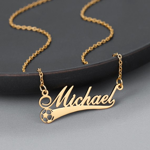 Custom Made Football Name Necklace Custom Name Necklace With Soccer Ball Pendant American Soccer Player Name Necklace Casual Name Jewelry For Women