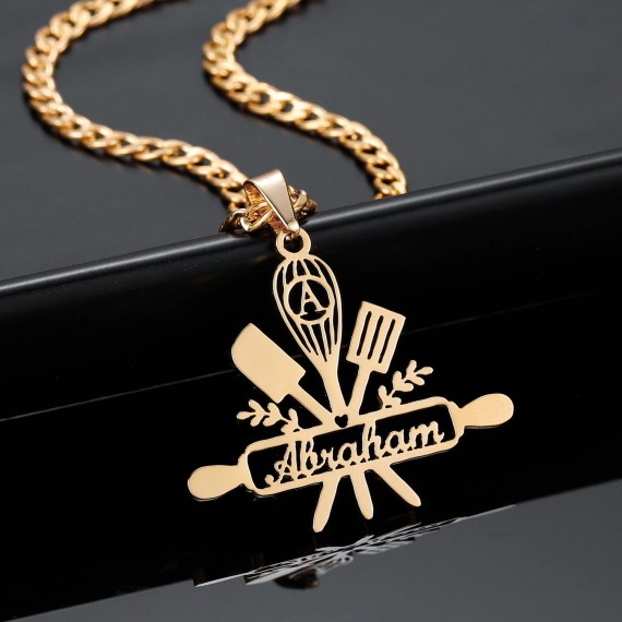 Gold Color Custom Name Necklace Cooking Equipment Pendant Necklace For Women Beceff For Women Kitchen Staff Name Necklace For Pastry Chefs Cutlery Equipment Pendant Necklace For Chefs